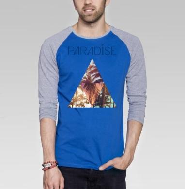 Paradise - Футболка мужская с длинным рукавом синий / серый меланж, текстура, Популярные