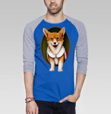 Вельш-корги - Футболка мужская с длинным рукавом синий / серый меланж, собаки, Популярные