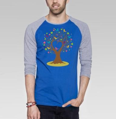 Весеннее дерево - Футболка мужская с длинным рукавом синий / серый меланж, для влюбленных, Популярные