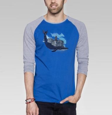 Whale city - Футболка мужская с длинным рукавом синий / серый меланж, киты, Популярные