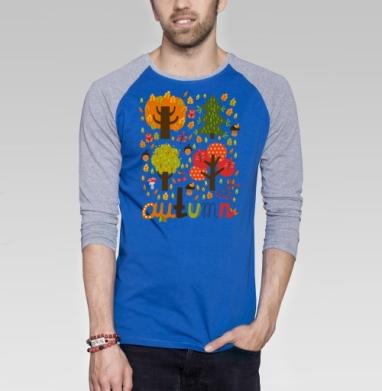 Autumn - Футболка мужская с длинным рукавом синий / серый меланж, осень, Популярные