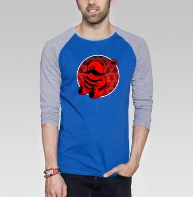 Мед - Футболка мужская с длинным рукавом синий / серый меланж, усы, Популярные