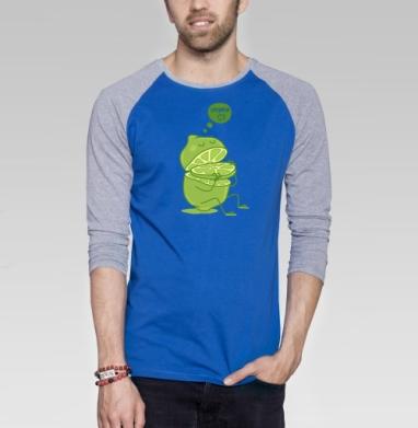 Vitamin c - Футболка мужская с длинным рукавом синий / серый меланж, фрукты, Популярные