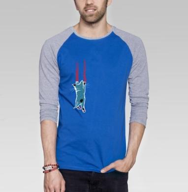 Царапка - Футболка мужская с длинным рукавом синий / серый меланж, усы, Популярные
