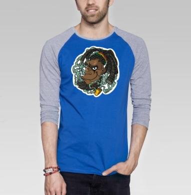 Дым - Футболка мужская с длинным рукавом синий / серый меланж, дым, Популярные