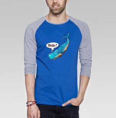 Hello - Футболка мужская с длинным рукавом синий / серый меланж, киты, Популярные