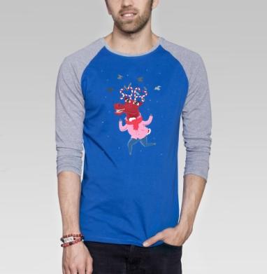 Карамельные рога - Футболка мужская с длинным рукавом синий / серый меланж, улыбка, Популярные