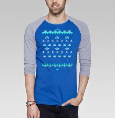 Space invaders a la rus - Футболка мужская с длинным рукавом синий / серый меланж, персонажи, Популярные
