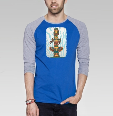 Тотем - Футболка мужская с длинным рукавом синий / серый меланж, индеец, Популярные