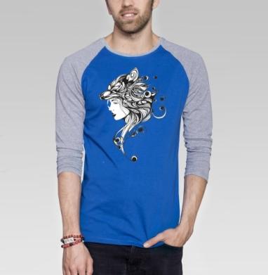 Волчица - Футболка мужская с длинным рукавом синий / серый меланж, графика, Популярные