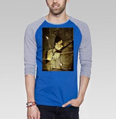 Лицо - Футболка мужская с длинным рукавом синий / серый меланж, лицо, Популярные