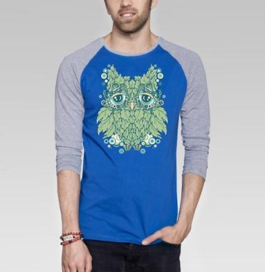 Сова - Футболка мужская с длинным рукавом синий / серый меланж, природа, Популярные