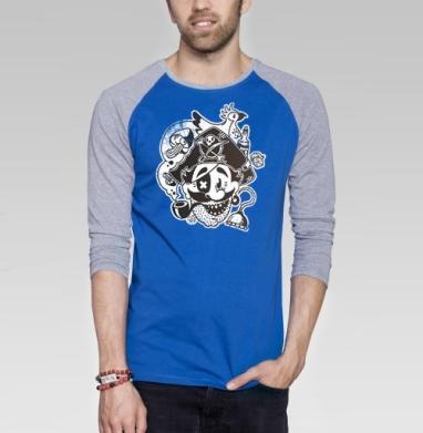 ВесЁлый Пират - Футболка мужская с длинным рукавом синий / серый меланж, пират, Популярные