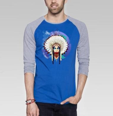 Greed - Футболка мужская с длинным рукавом синий / серый меланж, индеец, Популярные