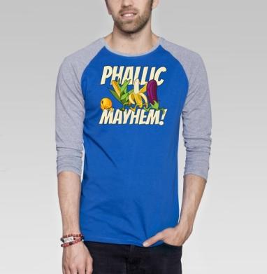 Phallic Mayhem! - Футболка мужская с длинным рукавом синий / серый меланж, фрукты, Популярные