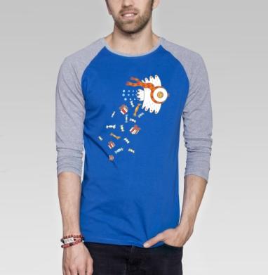 Птичка счастья - Футболка мужская с длинным рукавом синий / серый меланж, сладости, Популярные