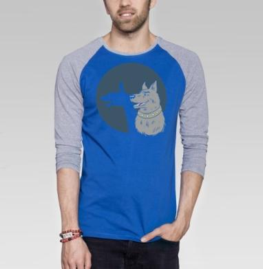 Shadow - Футболка мужская с длинным рукавом синий / серый меланж, собаки, Популярные