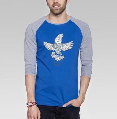 Свободный духом - Футболка мужская с длинным рукавом синий / серый меланж, Крылья, Популярные