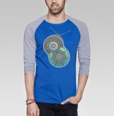 Alien Fm - Футболка мужская с длинным рукавом синий / серый меланж, психоделика, Популярные