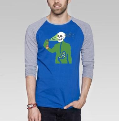 Anatomy - Футболка мужская с длинным рукавом синий / серый меланж, Бабочки