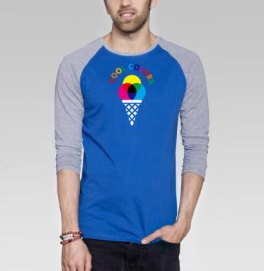 Cool colors - Футболка мужская с длинным рукавом синий / серый меланж, мороженое, Популярные