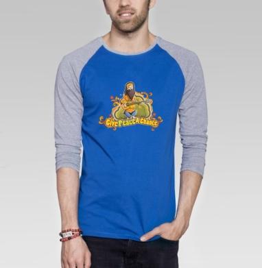 Hippie - Футболка мужская с длинным рукавом синий / серый меланж, психоделика, Популярные