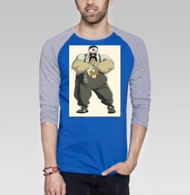 I Love Moscow! - Футболка мужская с длинным рукавом синий / серый меланж, Россия, Популярные