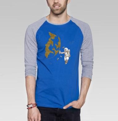 Космо - Футболка мужская с длинным рукавом синий / серый меланж, геометрия, Популярные