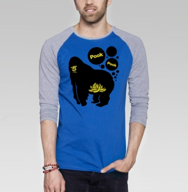 Pook Pook - Футболка мужская с длинным рукавом синий / серый меланж, фрукты, Популярные