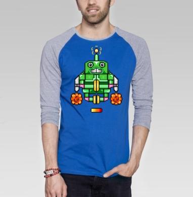 Робот-йог - Футболка мужская с длинным рукавом синий / серый меланж, йога, Популярные