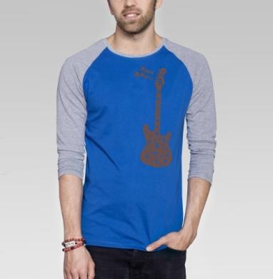 Rock&Roll - Футболка мужская с длинным рукавом синий / серый меланж, череп, Популярные