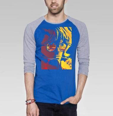 Сity lights - Футболка мужская с длинным рукавом синий / серый меланж, город, Популярные