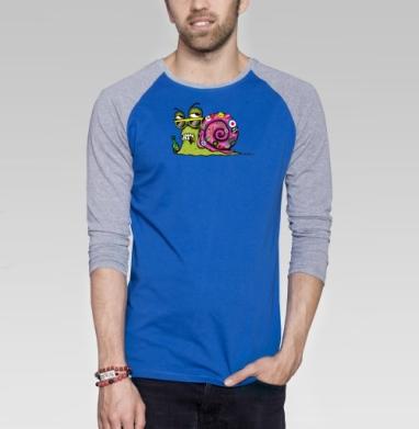 Snail Male - Футболка мужская с длинным рукавом синий / серый меланж, насекомые, Популярные