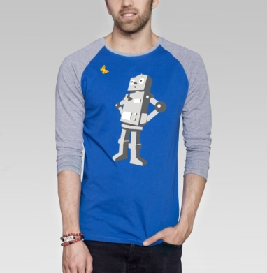 Robotics - Футболка мужская с длинным рукавом синий / серый меланж, бабочки, Популярные