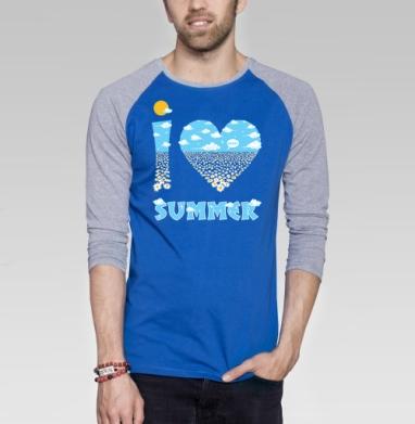 Summer_love - Футболка мужская с длинным рукавом синий / серый меланж, солнце, Популярные