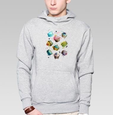 Толстовка мужская, накладной карман серый меланж, серый меланж - Футболки на заказ, майки на заказ