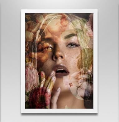Осенняя девушка - Постер в белой раме, осень