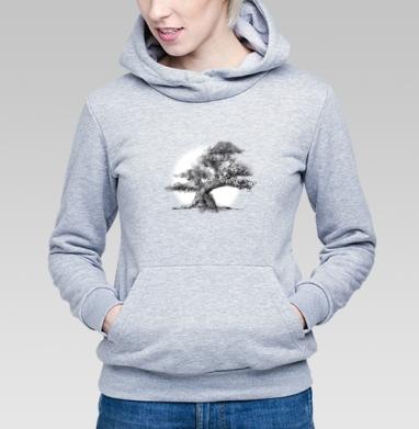 Толстовка Женская серый меланж - Дерево и полная луна