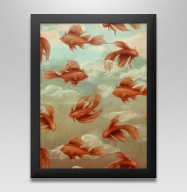 Красные рыбки - Постер в чёрной раме