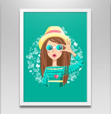 Лето - Постер в белой раме, бабочки
