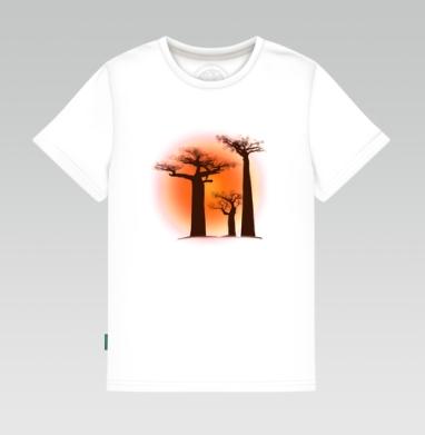 Детская футболка белая - Мадагаскарские баобабы