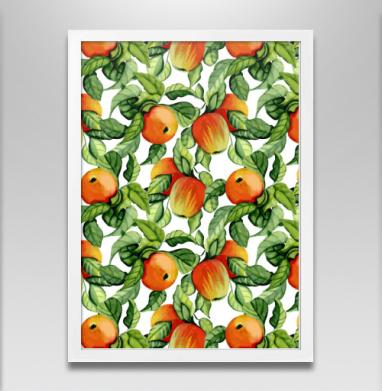 Яблоки - Постер в белой раме, осень