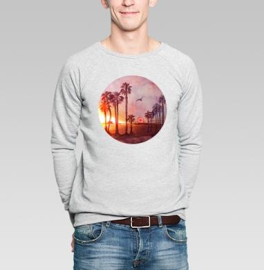 Закат в Санта Монике - Купить мужские свитшоты с летом в Москве, цена мужских  с летом  с прикольными принтами - магазин дизайнерской одежды MaryJane