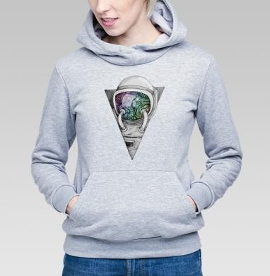 Космонавт, Толстовка Женская серый меланж 340гр, теплая
