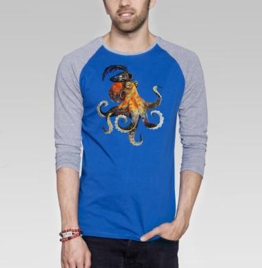 Пиратский осьминог - Футболка мужская с длинным рукавом синий / серый меланж, акварель, Популярные