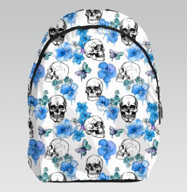 Черепа и голубые цветы - Рюкзак