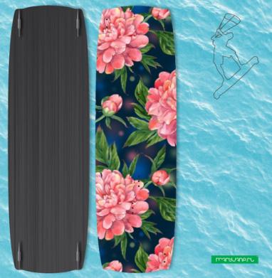 Розовые пионы на темно-синем фоне - Наклейки на кайтсерфинг/вэйк