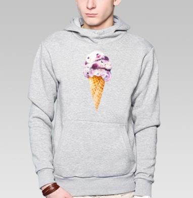 Мороженка, Толстовка мужская, накладной карман серый меланж