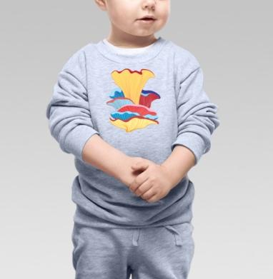 Cвитшот Детский серый меланж - Узор из фантастических грибов