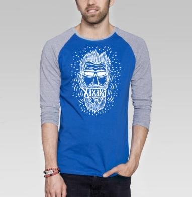Смех или хорошее настроение - Футболка мужская с длинным рукавом синий / серый меланж, голова, Популярные